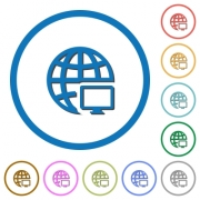 Remote terminal flat color vector icons with shadows in round outlines on white background - Remote terminal icons with shadows and outlines