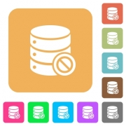 Disabled database flat icons on rounded square vivid color backgrounds. - Disabled database rounded square flat icons