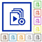 Playlist settings flat color icons in square frames on white background - Playlist settings flat framed icons
