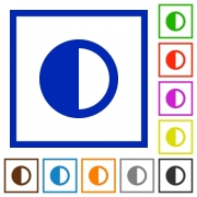 Contrast control flat color icons in square frames on white background - Contrast control flat framed icons