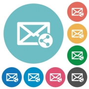 Share mail flat white icons on round color backgrounds - Share mail flat round icons