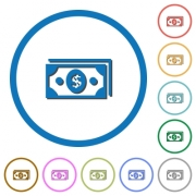 Dollar banknotes flat color vector icons with shadows in round outlines on white background
