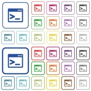 Command prompt color flat icons in rounded square frames. Thin and thick versions included. - Command prompt outlined flat color icons