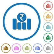 Indian Rupee financial graph flat color vector icons with shadows in round outlines on white background - Indian Rupee financial graph icons with shadows and outlines