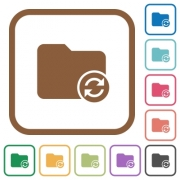 Refresh directory simple icons in color rounded square frames on white background - Refresh directory simple icons