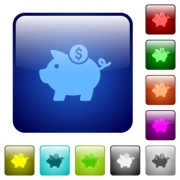 Dollar piggy bank icons in rounded square color glossy button set