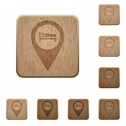 Hotel GPS map location on rounded square carved wooden button styles - Hotel GPS map location wooden buttons