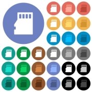 Micro SD memory card multi colored flat icons on round backgrounds. Included white, light and dark icon variations for hover and active status effects, and bonus shades on black backgounds.