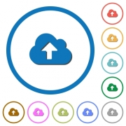 Cloud upload flat color vector icons with shadows in round outlines on white background - Cloud upload icons with shadows and outlines