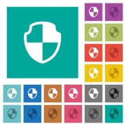 Shield multi colored flat icons on plain square backgrounds. Included white and darker icon variations for hover or active effects. - Shield square flat multi colored icons