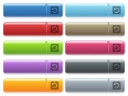 Rotate left engraved style icons on long, rectangular, glossy color menu buttons. Available copyspaces for menu captions. - Rotate left icons on color glossy, rectangular menu button