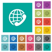 International call multi colored flat icons on plain square backgrounds. Included white and darker icon variations for hover or active effects. - International call square flat multi colored icons