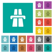 Highway multi colored flat icons on plain square backgrounds. Included white and darker icon variations for hover or active effects. - Highway square flat multi colored icons