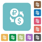 Ruble Dollar money exchange white flat icons on color rounded square backgrounds - Ruble Dollar money exchange rounded square flat icons