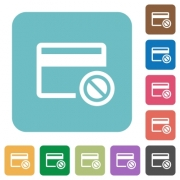 Credit card disabled white flat icons on color rounded square backgrounds - Credit card disabled rounded square flat icons