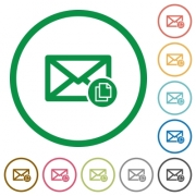 Copy mail flat color icons in round outlines on white background - Copy mail flat icons with outlines