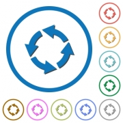 Rotate left flat color vector icons with shadows in round outlines on white background - Rotate left icons with shadows and outlines