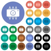 Hardware diagnostics multi colored flat icons on round backgrounds. Included white, light and dark icon variations for hover and active status effects, and bonus shades on black backgounds. - Hardware diagnostics round flat multi colored icons - Large thumbnail