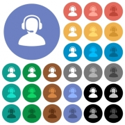 Operator multi colored flat icons on round backgrounds. Included white, light and dark icon variations for hover and active status effects, and bonus shades on black backgounds. - Operator round flat multi colored icons - Large thumbnail