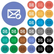 Tagging mail multi colored flat icons on round backgrounds. Included white, light and dark icon variations for hover and active status effects, and bonus shades on black backgounds. - Tagging mail round flat multi colored icons - Large thumbnail