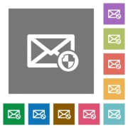 Mail protection flat icons on simple color square backgrounds - Mail protection square flat icons