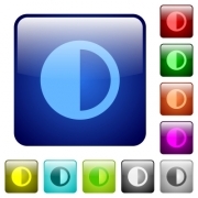 Contrast control icons in rounded square color glossy button set - Contrast control color square buttons