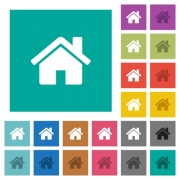 Home multi colored flat icons on plain square backgrounds. Included white and darker icon variations for hover or active effects. - Home square flat multi colored icons