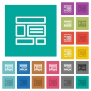 Web layout multi colored flat icons on plain square backgrounds. Included white and darker icon variations for hover or active effects. - Web layout square flat multi colored icons