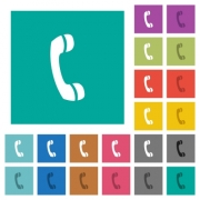 Call multi colored flat icons on plain square backgrounds. Included white and darker icon variations for hover or active effects. - Call square flat multi colored icons