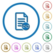 Document attachment flat color vector icons with shadows in round outlines on white background - Document attachment icons with shadows and outlines