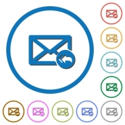 Mail reply to all recipient flat color vector icons with shadows in round outlines on white background - Mail reply to all recipient icons with shadows and outlines
