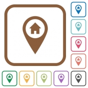 Home address GPS map location simple icons in color rounded square frames on white background - Home address GPS map location simple icons