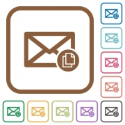 Copy mail simple icons in color rounded square frames on white background - Copy mail simple icons