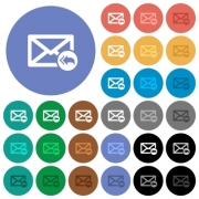 Mail reply to all recipient multi colored flat icons on round backgrounds. Included white, light and dark icon variations for hover and active status effects, and bonus shades on black backgounds. - Mail reply to all recipient round flat multi colored icons