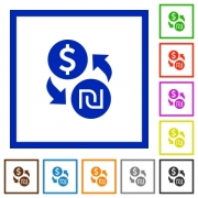 Dollar new Shekel money exchange flat color icons in square frames on white background - Dollar new Shekel money exchange flat framed icons