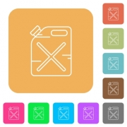 Gas can flat icons on rounded square vivid color backgrounds. - Gas can rounded square flat icons