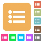 Bullet list flat icons on rounded square vivid color backgrounds. - Bullet list rounded square flat icons