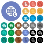 Online Pound payment multi colored flat icons on round backgrounds. Included white, light and dark icon variations for hover and active status effects, and bonus shades on black backgounds. - Online Pound payment round flat multi colored icons