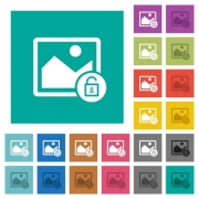 Unlock image multi colored flat icons on plain square backgrounds. Included white and darker icon variations for hover or active effects. - Unlock image square flat multi colored icons