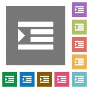 Increase text indentation flat icons on simple color square backgrounds - Increase text indentation square flat icons
