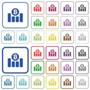 Bitcoin financial graph color flat icons in rounded square frames. Thin and thick versions included. - Bitcoin financial graph outlined flat color icons