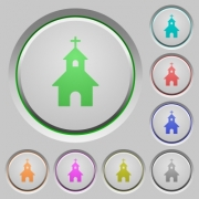 Curch color icons on sunk push buttons - Curch push buttons