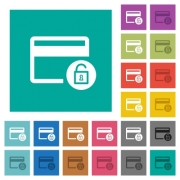 Unlock credit card transactions multi colored flat icons on plain square backgrounds. Included white and darker icon variations for hover or active effects. - Unlock credit card transactions square flat multi colored icons