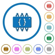 Hardware programming flat color vector icons with shadows in round outlines on white background - Hardware programming icons with shadows and outlines