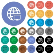 Remote terminal multi colored flat icons on round backgrounds. Included white, light and dark icon variations for hover and active status effects, and bonus shades on black backgounds. - Remote terminal round flat multi colored icons