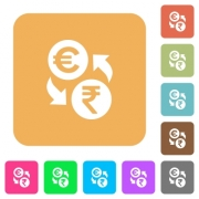 Euro Rupee money exchange flat icons on rounded square vivid color backgrounds.