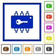 Hardware security flat color icons in square frames on white background - Hardware security flat framed icons