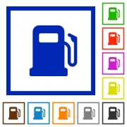 Gas station flat color icons in square frames on white background - Gas station flat framed icons