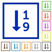 Ascending numbered list flat color icons in square frames on white background - Ascending numbered list flat framed icons