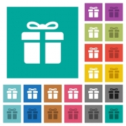 Gift box multi colored flat icons on plain square backgrounds. Included white and darker icon variations for hover or active effects. - Gift box square flat multi colored icons